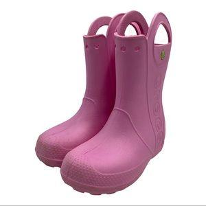 CROCS HP Pink Rain Boots Girls Size 3